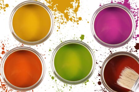 multiple stains: Colorful paint buckets with color spots Stock Photo