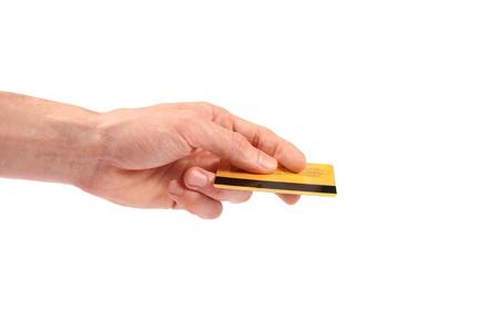 credit card bills: Hand gives credit card