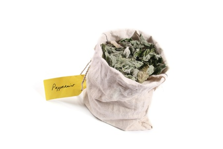 Flax bag full of dried peppermint  photo