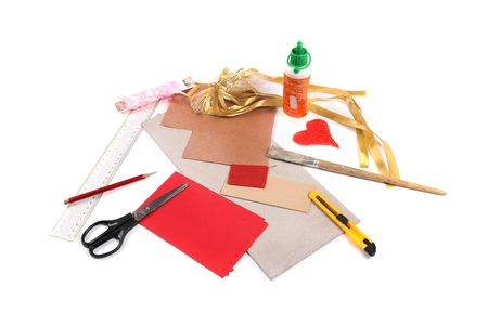 xmas crafts: Handicraft workshop Stock Photo