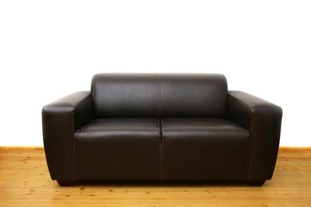Brown leather sofa photo