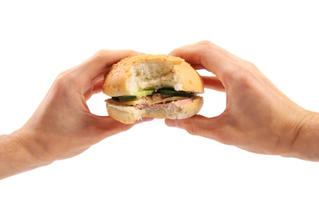 burger in the hands photo