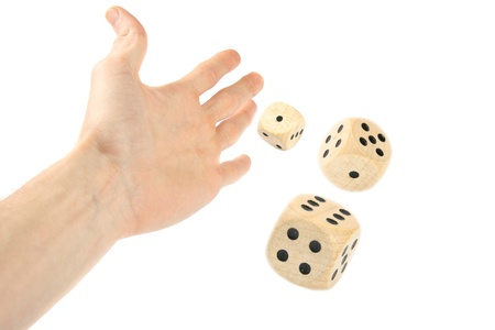 Hand throwing dice