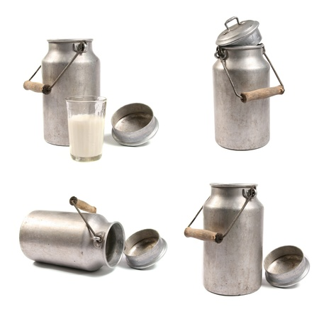 milk jugs: Milk cans Stock Photo