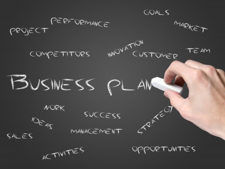 company vision: Business plan on blackboard