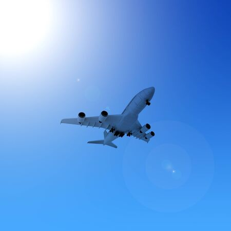 boeing: Airplane in the blue sky  Stock Photo