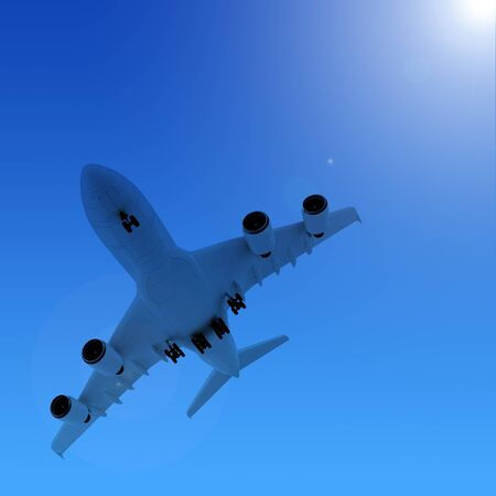 Airplane in the blue sky  photo