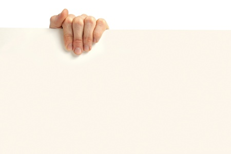 Advertising: hand holding blank poster Stock Photo