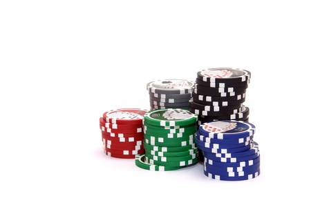 Casino chips isolated on white background photo