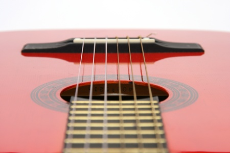 Red acoustic quitar photo