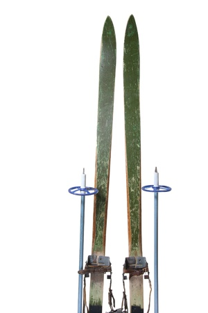 a pair: Old wooden skis Stock Photo