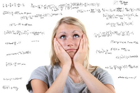 calculations: Desperate woman with many mathematical equations around her