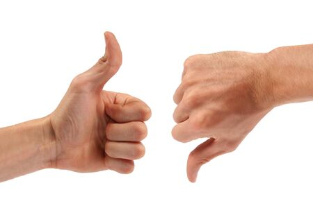 thumbs down: Voting: one thumb up, one down Stock Photo