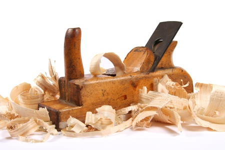 Wood plane with scobs photo