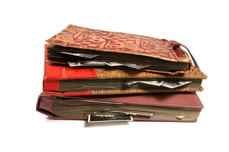 photo album page: Three old photo albums isolated on white background