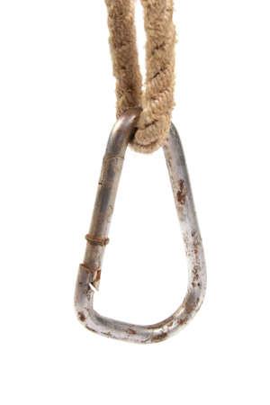 carabiner: Alpinist carabiner hang in rope Stock Photo