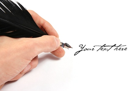 quill pen: Writing with feather