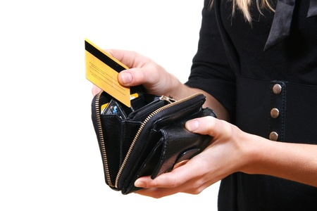 Woman taking credit card out of purse photo