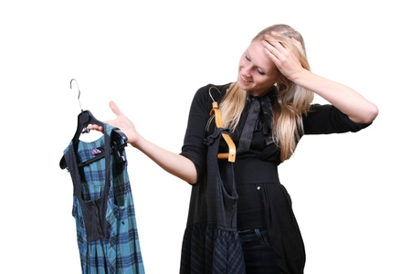 shopping questions: Woman chooses between two dresses