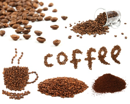 caffeine: variety of coffee beans Stock Photo