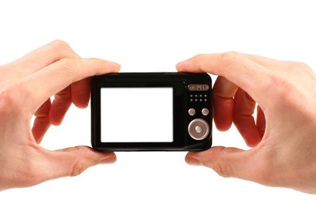 cámara de fotos en las manos aisladas sobre fondo blanco