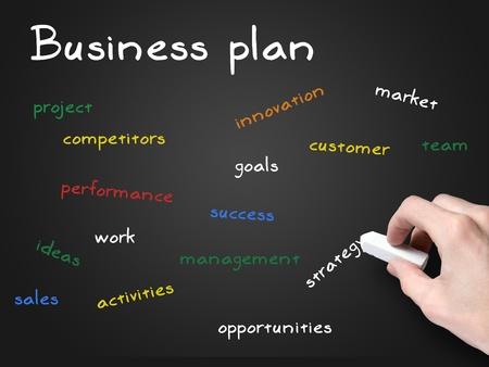 business plan on blackboard photo