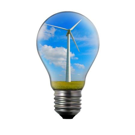 idea generation: Alternative energy concept. Light bulb with wind mill generator inside.