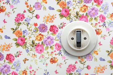 light switch: old light switch on vintage floral wallpaper