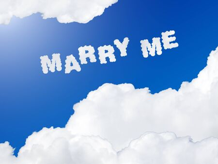 marry: marry me text in the sky