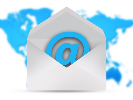 email icon over world map Stock Photo - 12718671