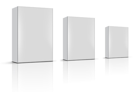 product packaging: three blank product boxes