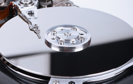 data recovery: close up of hard disk inside Stock Photo