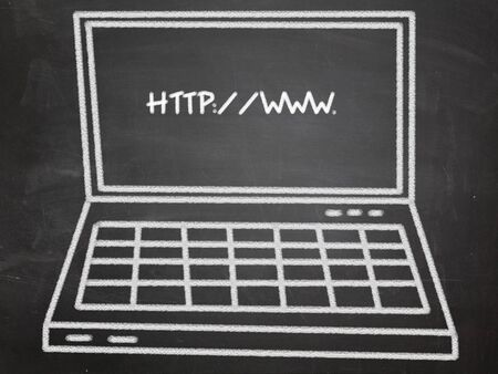 laptop on blackboard with web address Stock Photo - 13528992