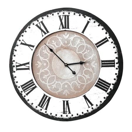 reloj pared: reloj de pared de la vendimia con números romanos Foto de archivo