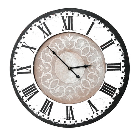 wall clock: vintage wall clock with roman numbers Stock Photo