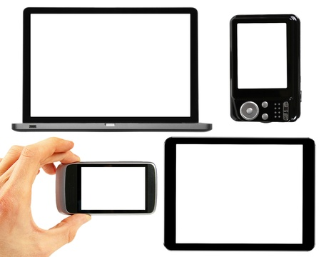 set of electronic gadgets with blank screens photo