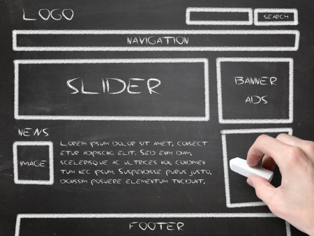 development process: website wireframe sketch on blackboard