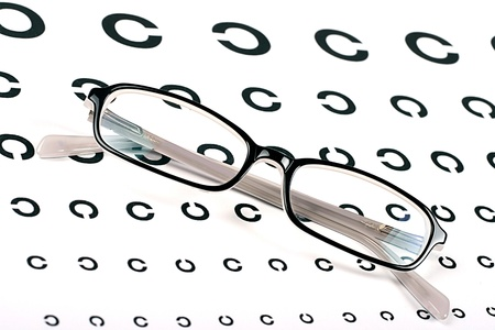 black glasses on a eye sight test chart photo