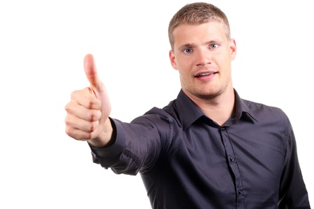 smiling young man with thumb up Stock Photo - 14793761