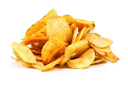 crispy: potato chips isolated on white Stock Photo