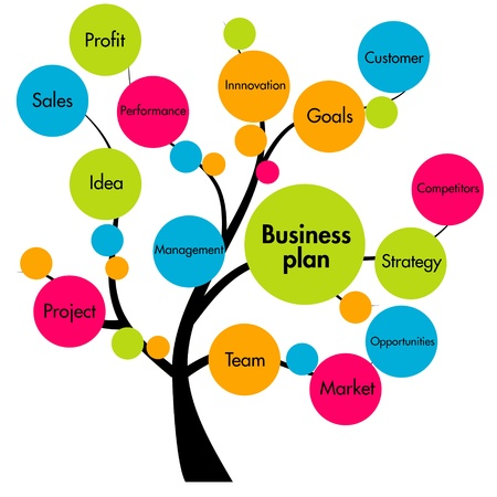 project management: business plan tree Stock Photo
