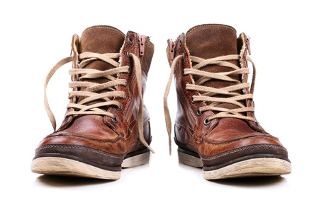 work boots: brown leather boots Stock Photo