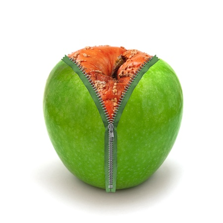 camouflage skin: rotten apple in new skin Stock Photo