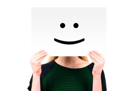 hide: woman keeping a paper with smiling face