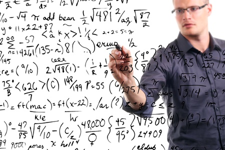 complication: man writes mathematical equations on whiteboard