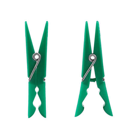 green clothes: two green clothes peg
