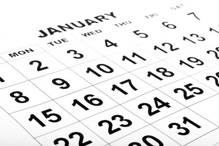 enero: calendario en blanco blanco con números negros Foto de archivo