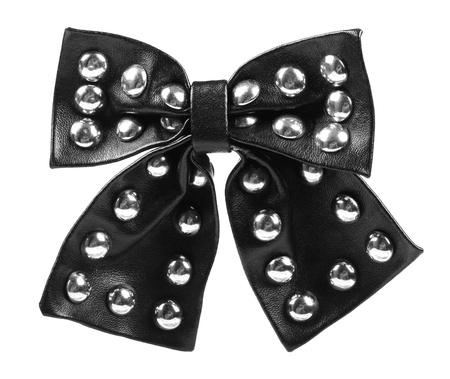 black leather ribbon bow photo