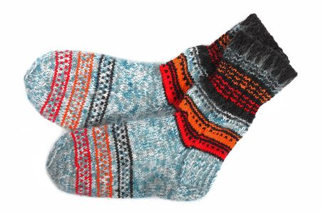 needlecraft product: colorful wool socks isolated on white Stock Photo