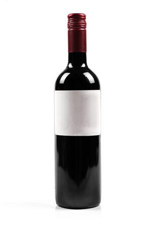 bottle label: red wine bottle isolated on white Stock Photo